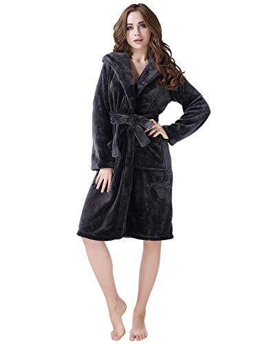 Richie House Fleece Robe with Hood RHW2233(Grey)-A-XL