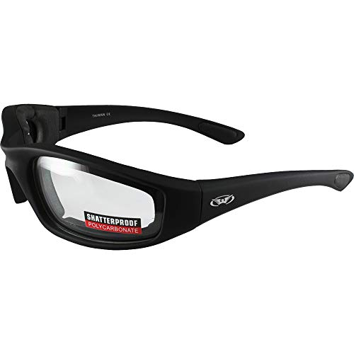 Global Vision Eyewear Kickback Sunglasses with EVA Foam, Clear Lens, Soft Touch Black Frame