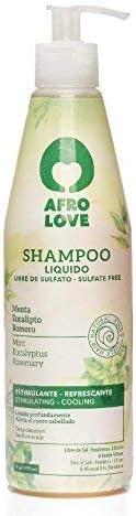 Afro Love Champú Liquido - Límpia profundamente el cuero cabelludo con Menta, Eucalipto y Romero 290ml - Libre de Sulfato