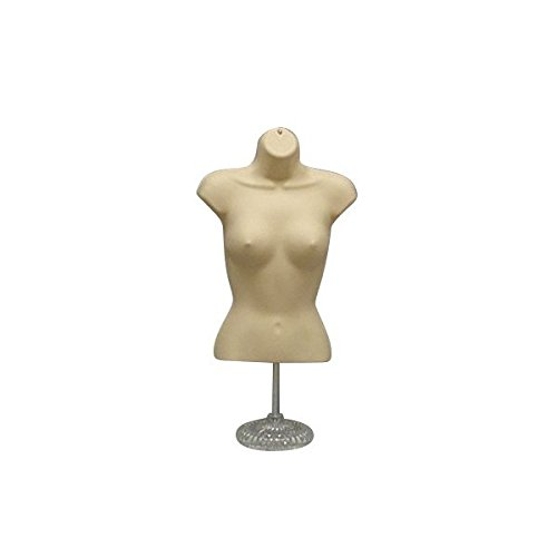 Female Torso Mannequin Form With Base 19' To 38' Height For Sizes S & M -Flesh -157fc (Made by OM Only Mannequins®