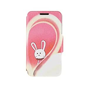 Kinston Love Between the Rabbit Pattern PU Leather Full Body Cover with Stand for iPhone 6 Case 4.7 inch