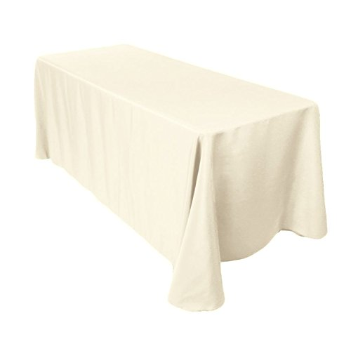 LinenTablecloth 90 x 132-Inch Rectangular Polyester Tablecloth Ivory ()