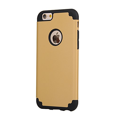 iPhone 6/6s Case, iBarbe Slim fit Hybrid Rubber PC Shockproof Heavy Duty Protection Case with soft Inner Protection Reinforced Hard Bumper Frame for Apple iPhone 6 6s (4.7 inch) phone-gold