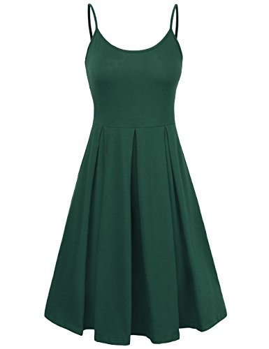 - KASCLINO Women's A-Line Dress Sleeveless Strappy Pleat Skater Dress (Small, Green)