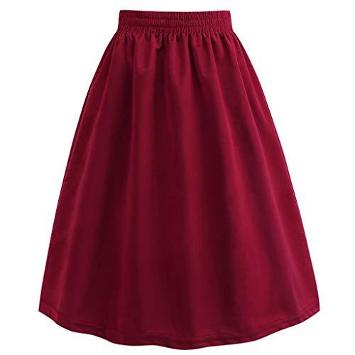 (Women Velvet Skirt Lady Retro High Elastic Waist Ball Gown Solid Knee Length Skirt Fashion Casual Comfort)
