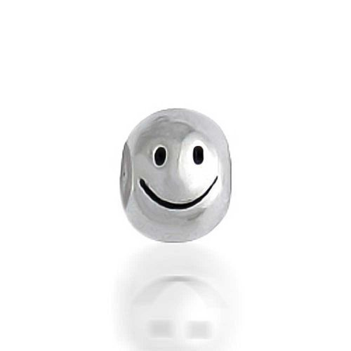 Face Sterling Silver Charm - Bling Jewelry Happy Smiley Face Charm 925 Sterling Silver Round Shape Barrel Bead