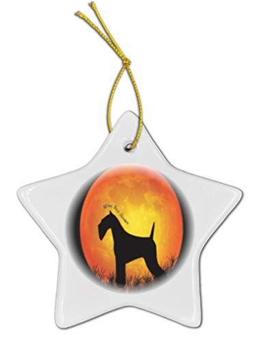 Fox Wire Silhouette Terrier (Rikki Knight Wire Fox Terrier Dog Silhouette Moon Star Shaped Porcelain Ornament/Car Rear View Mirror Hanger)