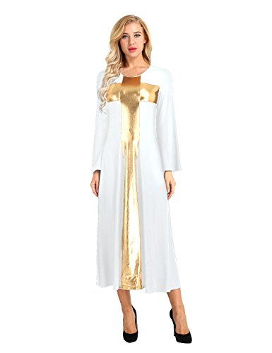 YiZYiF Length Long Liturgical Cross Full Praise Sleeve Praise Dance Women's Dress White Z6rZwqB