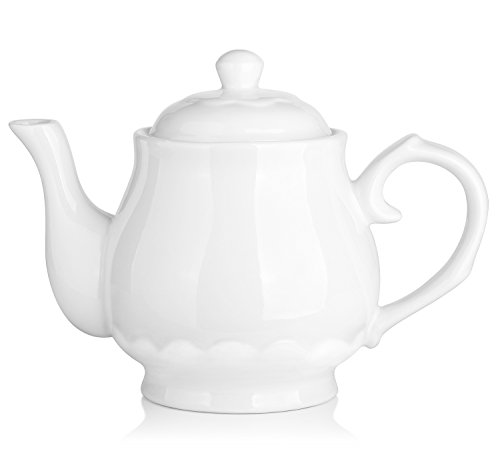 DOWAN Porcelain Teapot 40 Ounces White Fine Pierced Ceramic Tea Pot, Set of 1