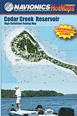 Cedar Creek Reservoir High Definition Fishing Map