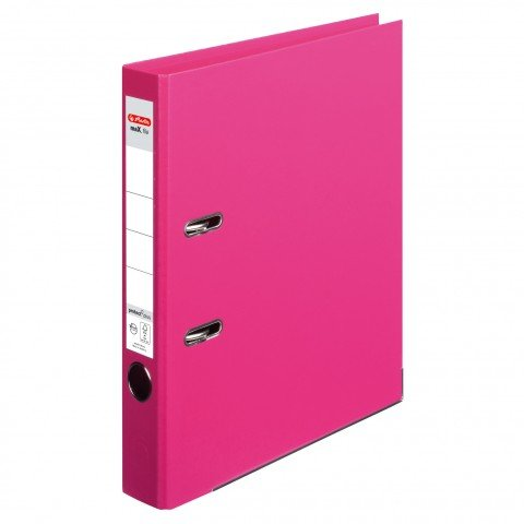 4er Packung Herlitz Ordner maX.file protect+ A4 Voll-PP-Folienbezug Wechselfenster (pink schmal, 4)