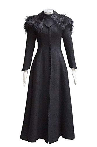 Expeke Women Black Dress Queen Cersei Coat Cosplay Lannister Costume for Halloween (Women L, Dress B) ()