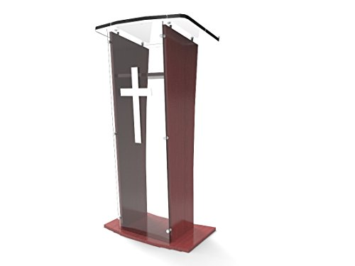FixtureDisplays Acrylic Podium Lectern Pulpit Plexiglass Lucite Clear Wood Shelf Frame with Cross Decor-Ship UNASSEMBLED/Flat 1803-5+1803CROSS-NF
