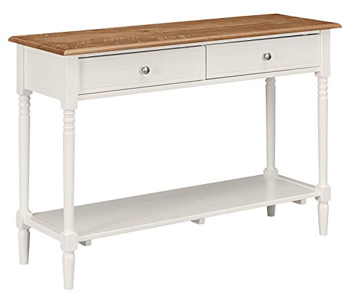 MUSEHOMEINC Washington Farmhouse Rustic Wooden Console Table with 2 Drawer Storage Sofa Table Mid-Century Modern Style,White Finish