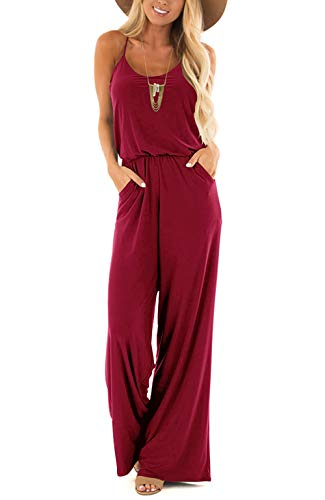 INFITTY Womens Summer Casual Sleeveless Spaghetti Strap Sexy Jumpsuit Rompers Wide Leg Pants Burgundy Large