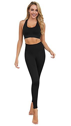 FEOYA Dames yoga-trainingspak naadloos 2-delig outfits fitness workout sport beha leggings set stretch hoge taille…