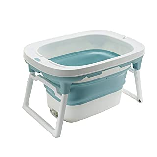 LIKU Foldable Freestanding Bathtubs, Portable Tub Household Bath Basin with Cushion (S/For Children, Blue)