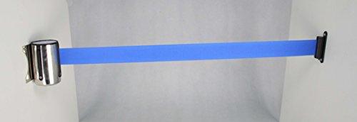(FixtureDisplays Stanchion Queue Barrier Post Wall Mount Retractable Ribbon 17' Belt Blue 12004-8-BLUE-FBA)