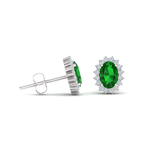 (Diamondere Natural and Certified Oval Cut Emerald Halo Diamond Petite Earrings in 14K White Gold   1.17 Carat Earrings for Women)
