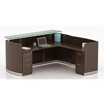 "Mayline L Shaped Reception Desk Dimensions: 87 1/4""W X 85 1/4"", Desk:87 1/4"" X 37 1/4""D X 42 3/4""H, Return: 48""W X 25""D X 39 1/4""H 1"" Thick Laminate Work Surface - Mocha"