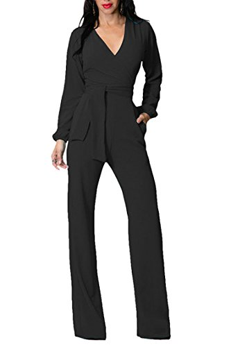 Fixmatti Long Sleeve Zip up Slim Fitted Black Jumpsuits Romper for Women Sexy M