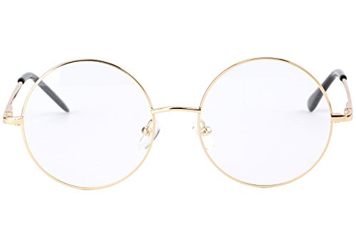 Agstum Retro Round Prescription ready Metal Eyeglass Frame (Large Size) (Gold)