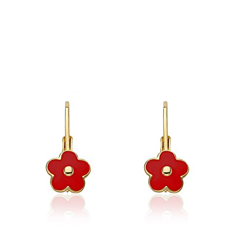 Red Kids Earring - Little Miss Twin Stars Frosted Flowers 14k Gold-Plated Red Flower Lever Back Earring/Brass