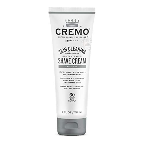 Cremo Unscented Shave Cream With Skin Clearing Formula, Helps Prevent Razor Bumps, Blemishes and Ingrown Hairs, 4 Fluid Ounces from Cremo