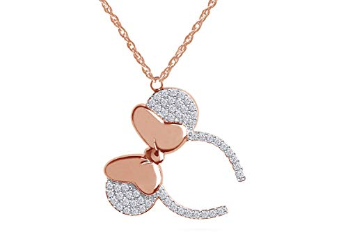 Wishrocks Round Simulated Cubic Zirconia Minnie Mouse Ear Headband Nacklace Pendant 14k Rose Gold Over Sterling Silver.