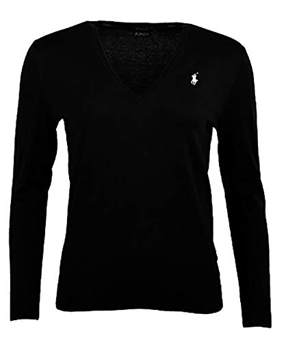Polo Ralph Lauren Woman's Machine Washable Pima Cotton V-Neck Sweater (Small, Black)