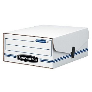 - Bankers Box - Liberty Binder-Pak Storage Box Letter Snap Fastener White/Blue