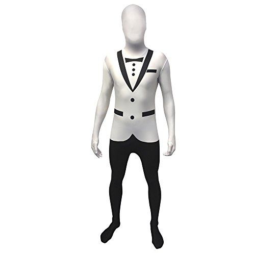 "White Tuxedo Morphsuit Fancy Dress Costume - size Large - 5""5-5""9 (163cm-175cm)"