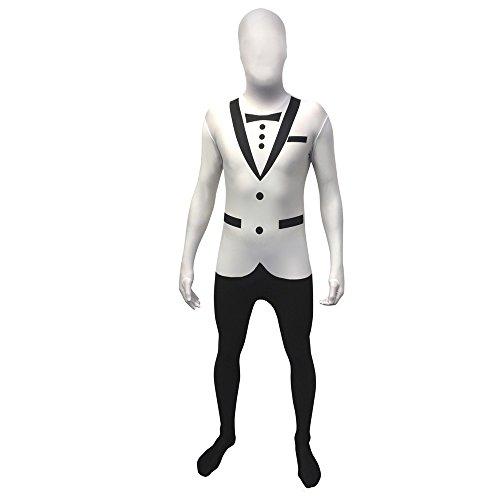 """Tuxedo Suit Costume Skin (White Tuxedo Morphsuit Fancy Dress Costume - size Large - 5""""5-5""""9)"""