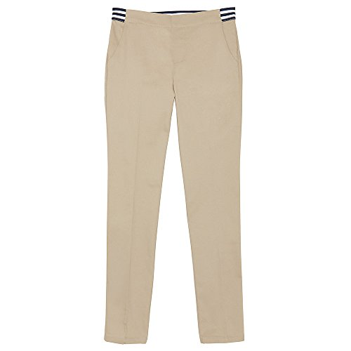 French Toast Girls' Big Stretch Contrast Elastic Waist Pull-on Pant, Khaki, 7 by French Toast (Image #1)