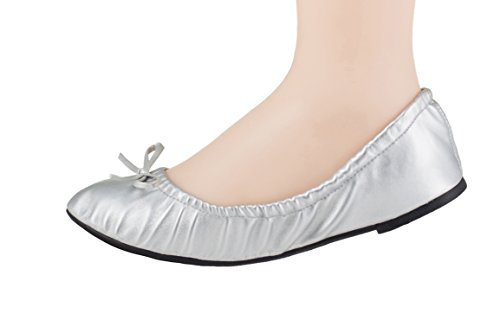Silky Toes Foldable Travel Portable Flat Comfort Shoes with Pouch (Medium (7), Silver) by Silky Toes (Image #1)