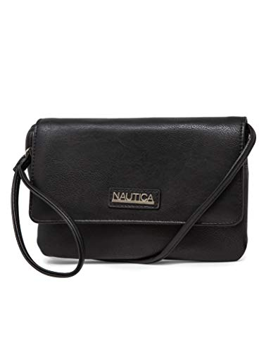 Nautica RFID Crossbody Wallets For Women Anti Theft Travel Purse Wallet On A String Vegan Leather (Black)