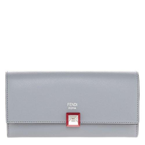 Fendi Women's Studded Flap Continental Wallet Blue Gray