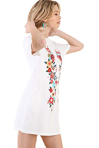 Umgee Boho Fall/Winter Please! Embroidered French Terry Cover up by Day Dress by Night (White, Small)