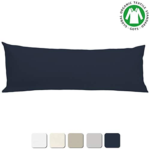 BIOWEAVES 100% Organic Cotton Body Pillow Cover for Body Pillowcases 300 Thread Count Soft Sateen Weave GOTS Certified with Zipped Closure - 21' x 54', Navy Blue