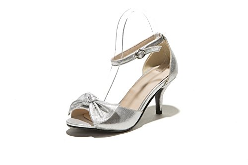 AmoonyFashion Womens Solid Soft Material High-Heels Buckle Open-Toe Sandals Silver B7twW5XnZ3