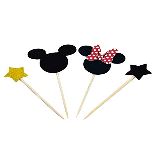 Betop House Set of 44 Pieces Mickey Minnie Mouse Themed Party Twinkle Twinkle Little Star Kids Birthday Baby Shower Cake and Cupcake Decorative Toppers Kit Party Supplies