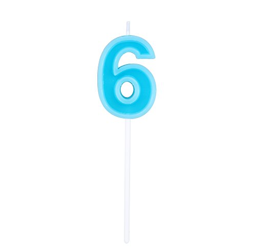 Willcan Extra Length Happy Birthday Colorful Numeral Candles, Classic Number 6 Blue Candles with Plastic stem for Party Celebration Decorating Cake Topper (Blue Number 6)