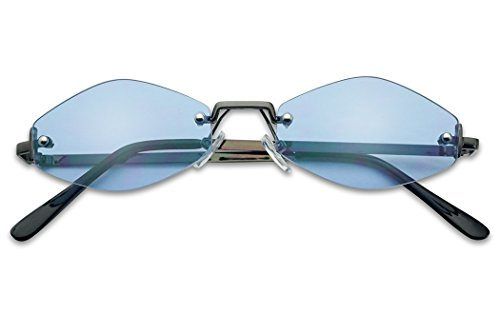 (90's Retro Vintage Small Tiny Narrow Rimless Oval Designer Color Tinted Sun Glasses (Gun Metal Frame | Blue))