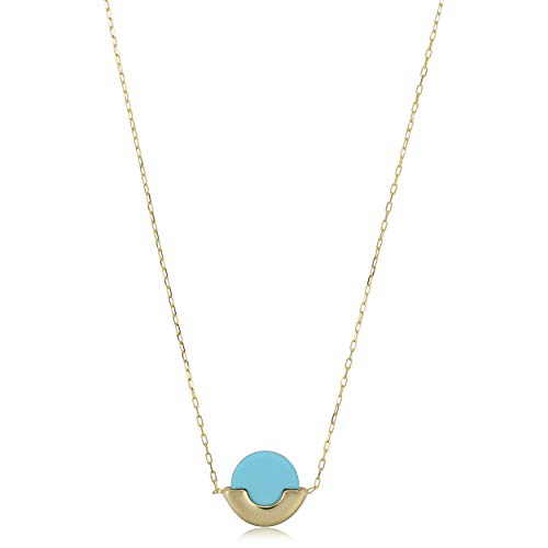 Kooljewelry 14k Yellow Gold Turquoise Adjustable Length Necklace (adjusts to 16 or 17 inch) ()