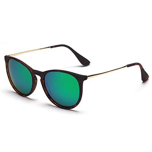(SUNGAIT Vintage Round Sunglasses for Women Girl Classic Retro Designer Style (Polarized Green Mirror Lens/Dark Amber Frame) 1567 PGHPKLV)