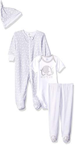 Gerber Baby 4-Piece Sleep 'N Play, Onesies, Pant and Cap, Elephant, Newborn
