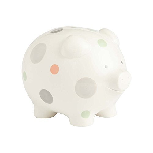 Beginnings by Enesco Big Polka Dot Piggy Bank, 7 inches, Multicolor