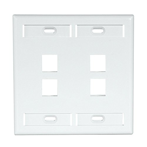 - Leviton 42080-4WP 4-Port Dual Gang QuickPort Wallplate with ID Windows, White
