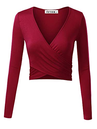 VETIOR Women's Deep V Neck Long Sleeve Unique Cross Wrap Slim Fit Crop Tops Medium Wine
