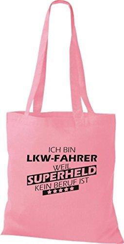 Shirtstown Stoffbeutel Ich bin LKW-Fahrer, weil Superheld kein Beruf ist rosa